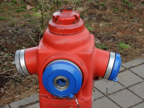 cast iron, hose, hydrant, object, red, equipment, outdoors, industry