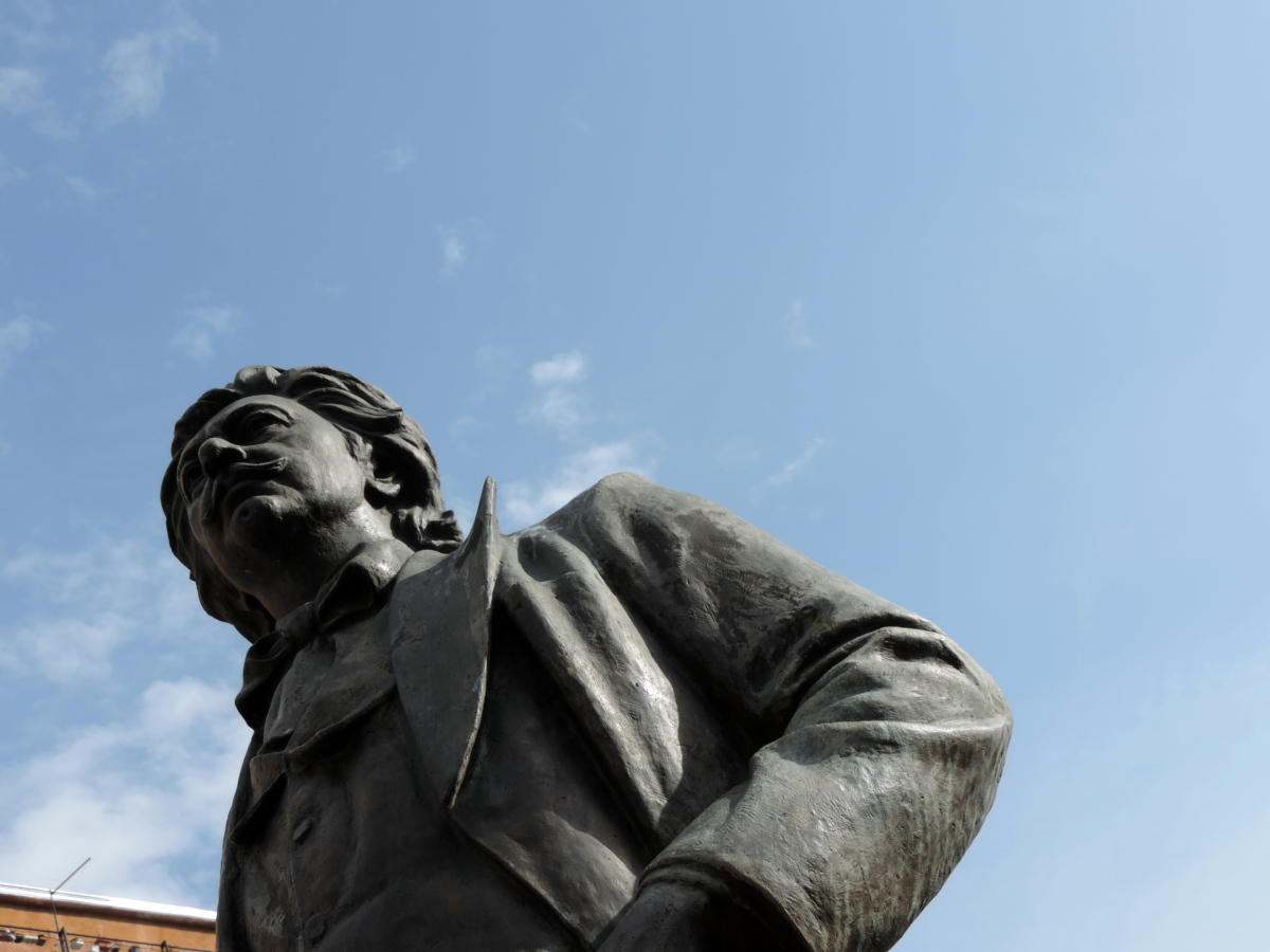 pronssi, støbejern, poesi, skulptur, statue, rejse, mand, monument
