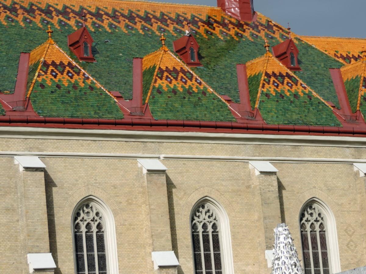 Kathedrale, bunte, Dach, auf dem Dach, Erstellen von, Palast, Fassade, Architektur