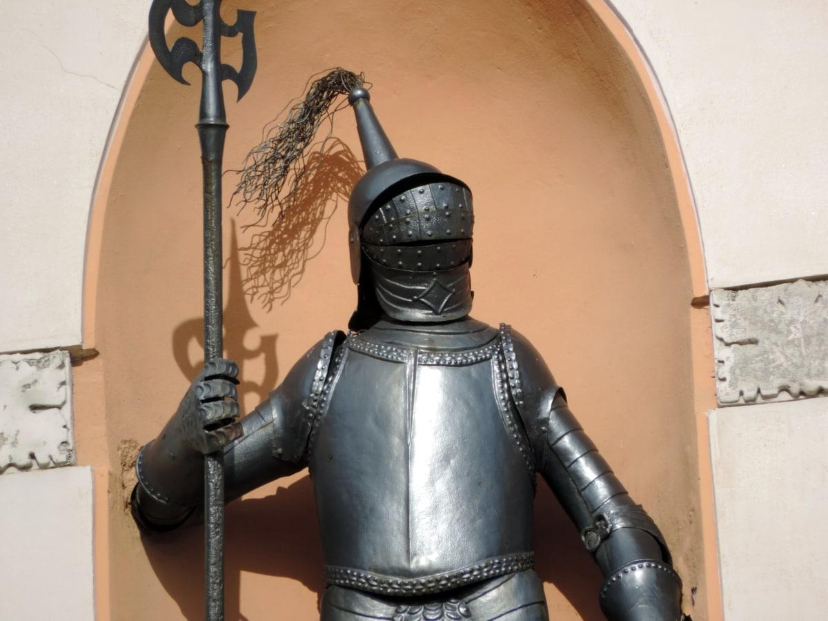 armure, fer de fonte, à la main, Chevalier, Bouclier, arme, épée, vieux