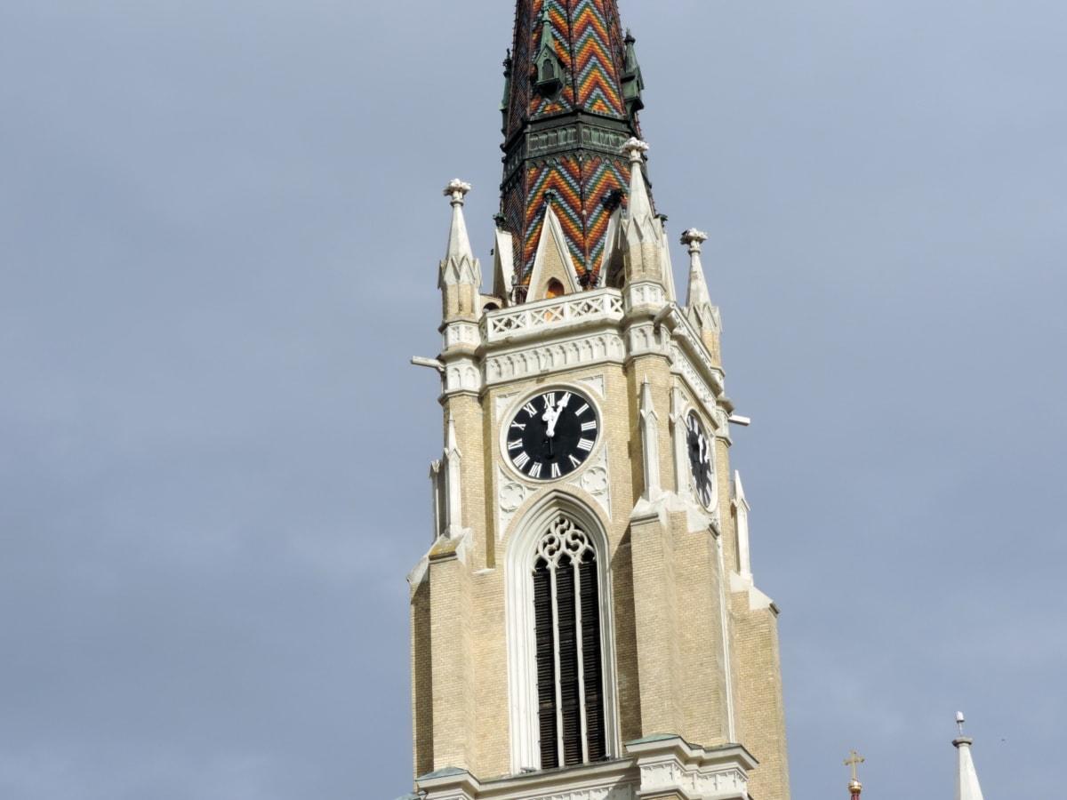 καθολική, πύργος εκκλησιών, Σερβία, Ρολόι, κτίριο, Πύργος, αρχιτεκτονική, σε εξωτερικούς χώρους