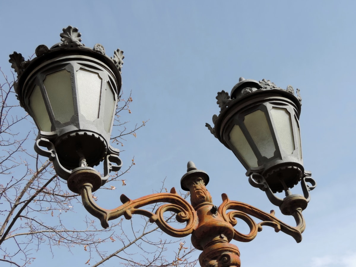 baroque, cast iron, handmade, lantern, device, lamp, architecture, old