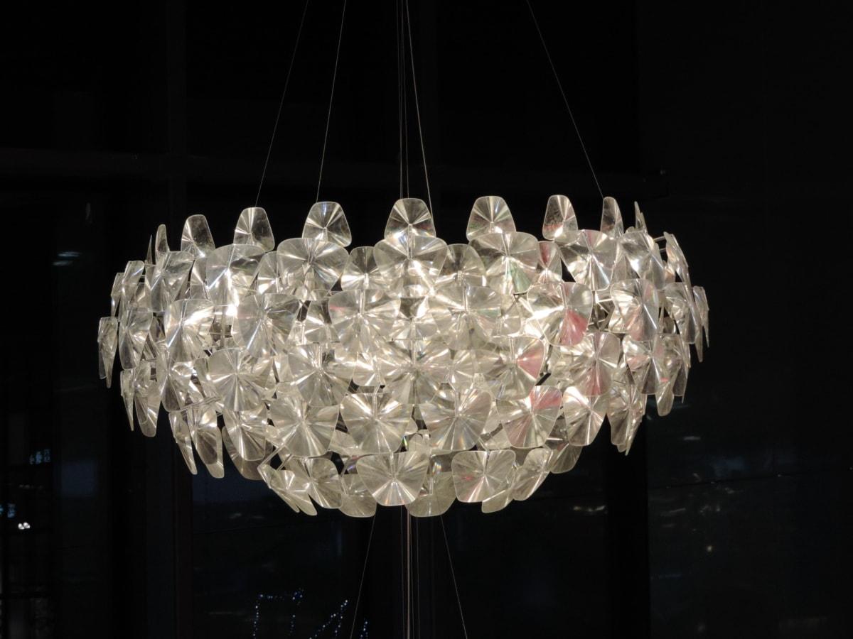 kristály, drága, belsőépítészet, belsőépítészet, csillár, fény, lámpa, ragyogó