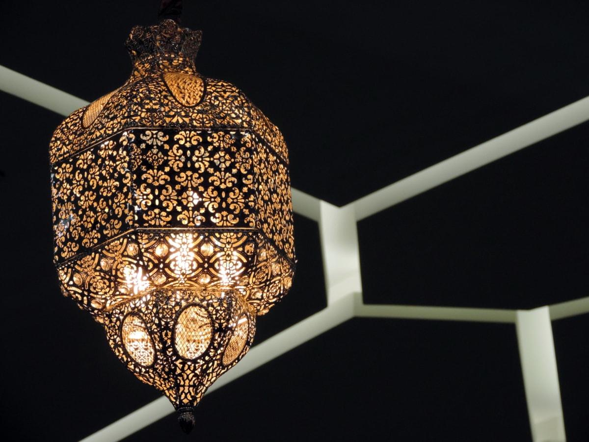 Arabesque, barokní, lampa, žárovka, luxusní, Retro, design interiéru, umění