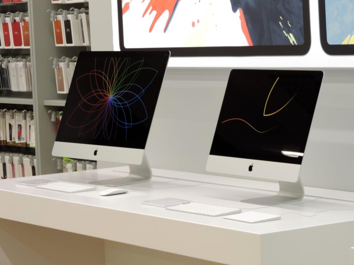 アップルコンピュータ, 備品, 技術, デスク, コンピュータ, モニタ, 表示します。, 現代的です