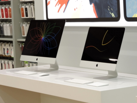 apple computer, equipment, technology, desk, computer, monitor, display, contemporary