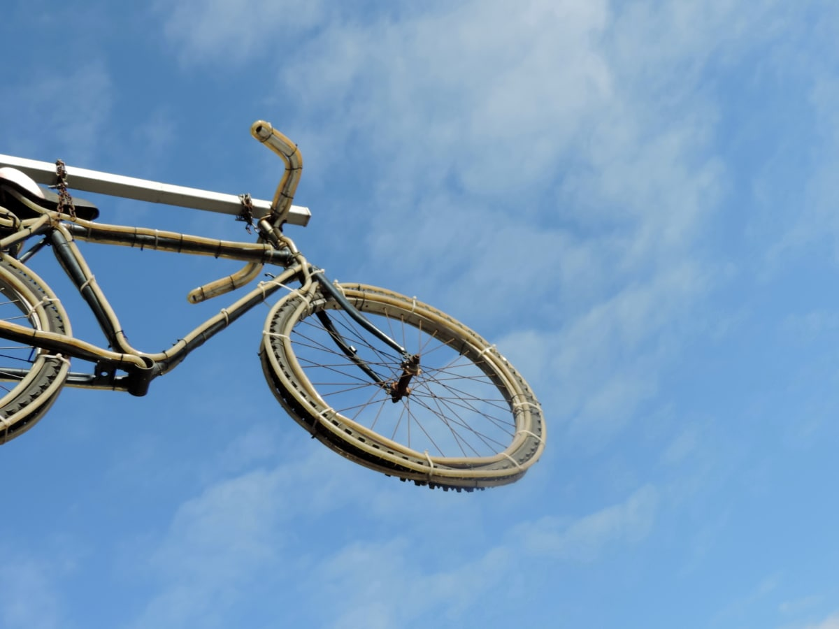 bicycle, blue sky, decoration, wheel, cycling, cycle, vehicle, bike