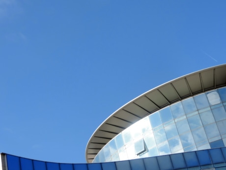 blue, blue sky, perspective, modern, building, architecture, futuristic, city