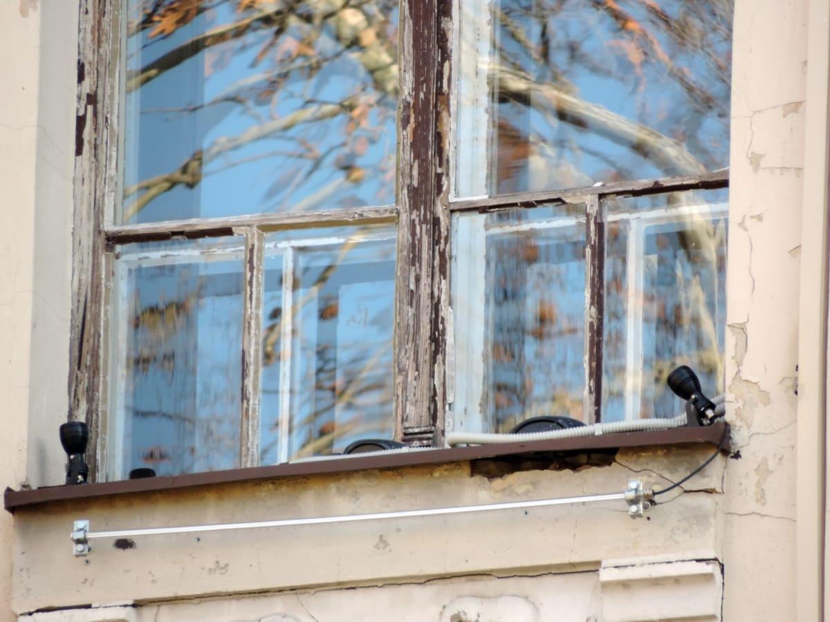 sklo, staré, reflexe, okno, struktura, budova, dům, architektura