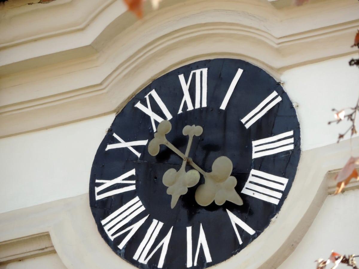 julkisivu, käsintehty, kello, aika, kello, minuutti, retro, nykyaikainen