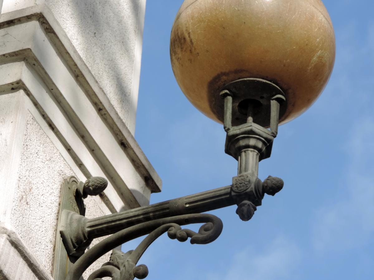fer de fonte, lanterne, architecture, à l'extérieur, lumière du jour, fer, en acier, vieux
