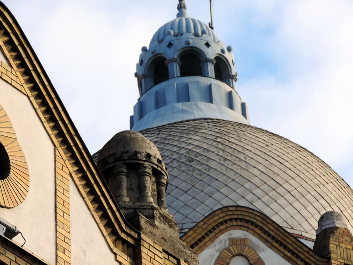 синьо небе, купол, фасада, религия, духовност, кула, минаре, архитектура