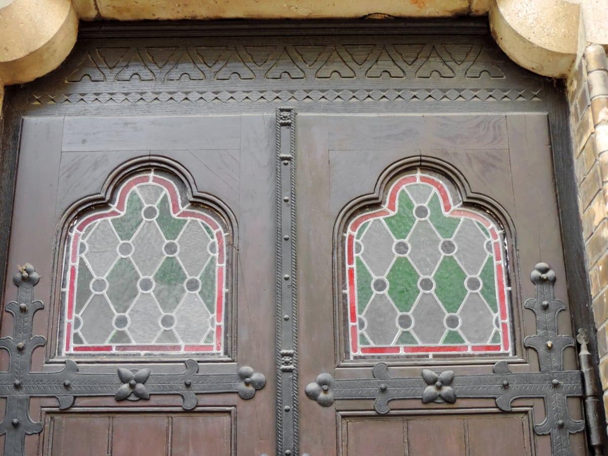 menuiserie, fer de fonte, décoration, porte d'entrée, mosaïque, bois, Porte, architecture