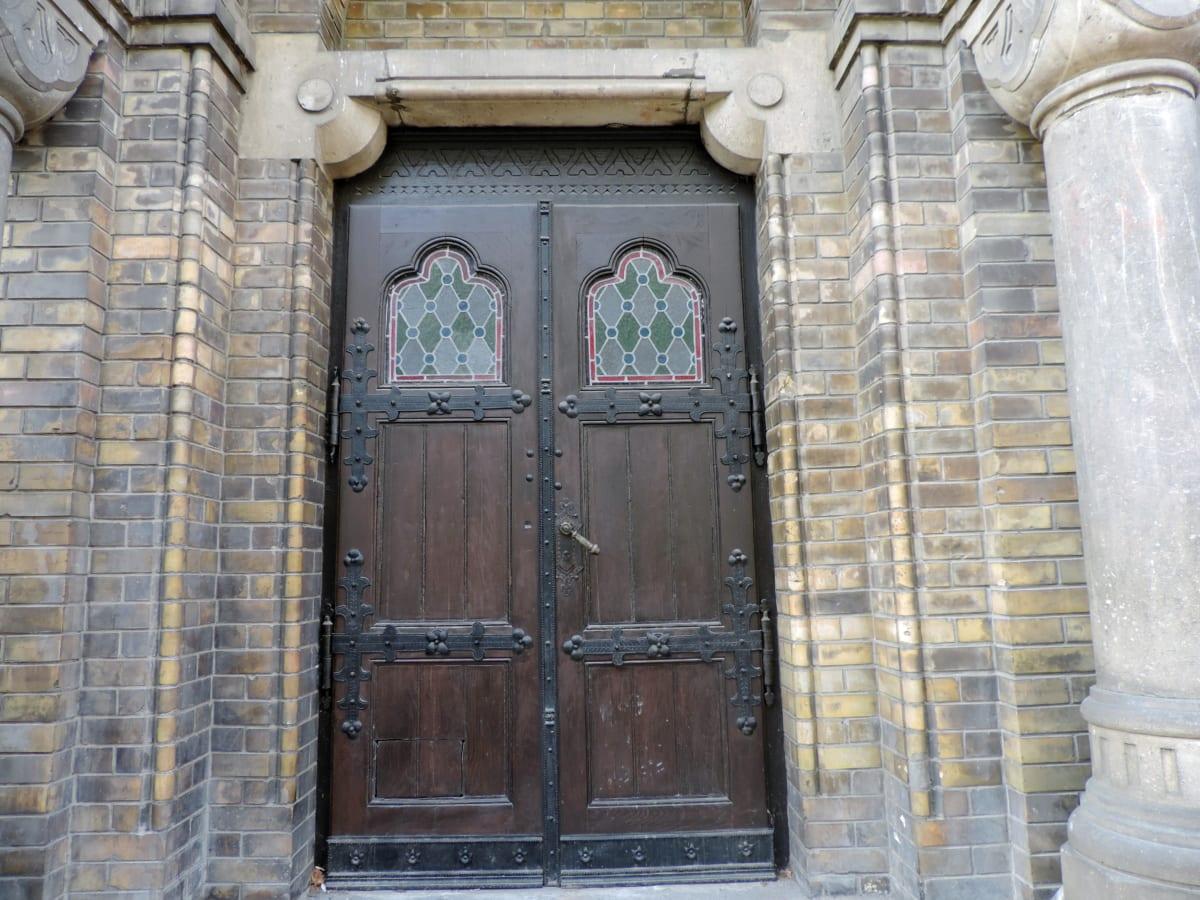 mattone, mattoni, carpenteria, porta d'ingresso, Gotico, fatto a mano, religione, davanzale