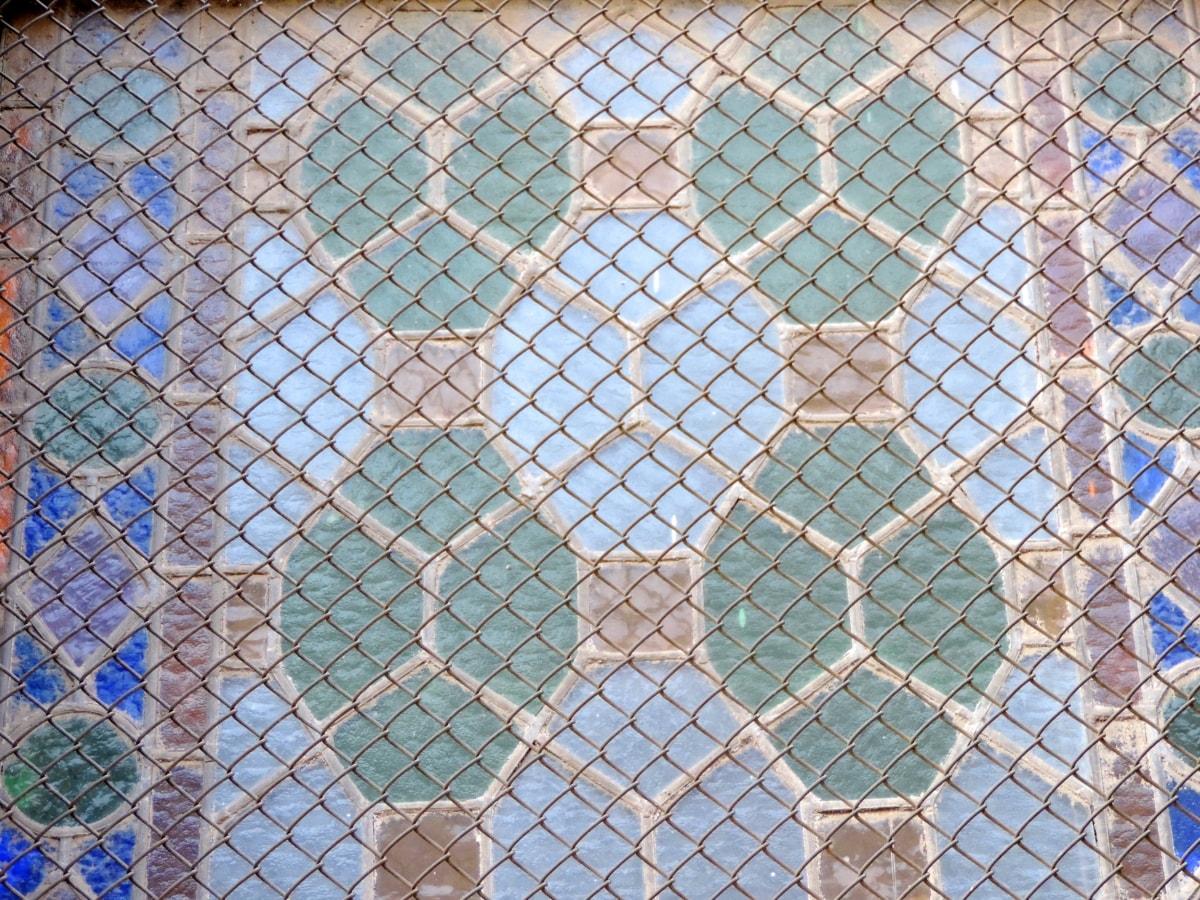 Valurauta, lasi, mosaiikki, rakenne, Tiivistelmä, geometrinen, aidan, Ohje