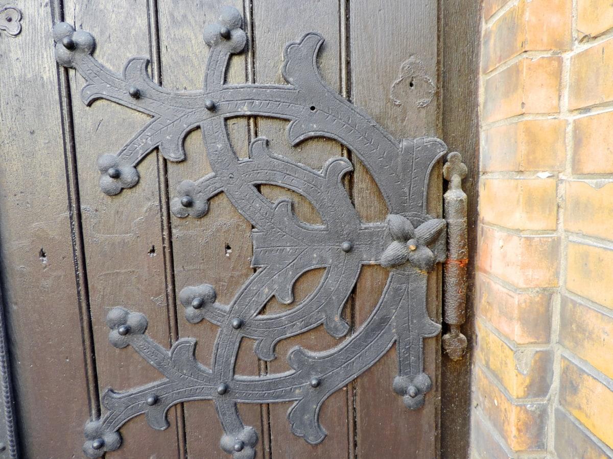 liatina, brána, zapínanie, Architektúra, dvere, železo, závora, staré