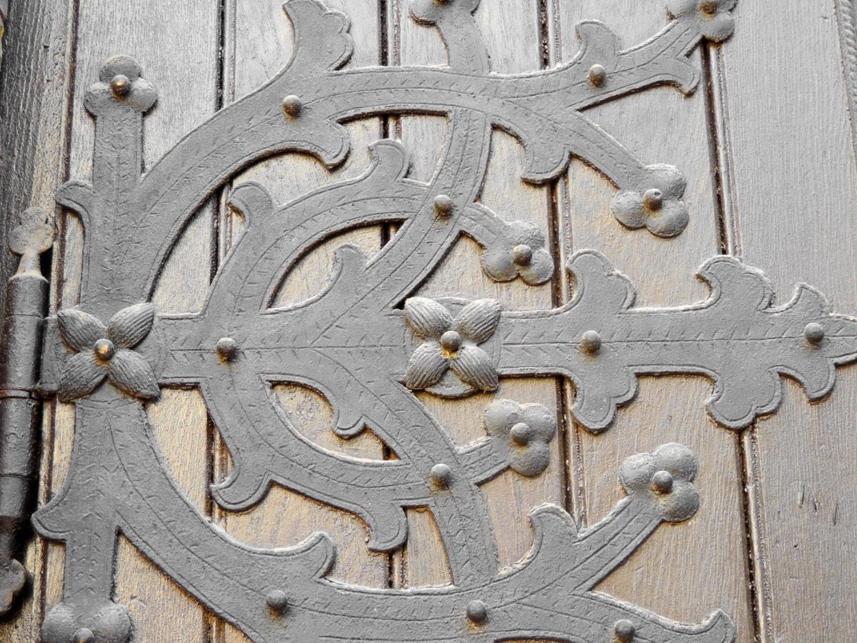 barokk, öntöttvas, Részletek, kézzel készített, fa, vas, acél, lefedő