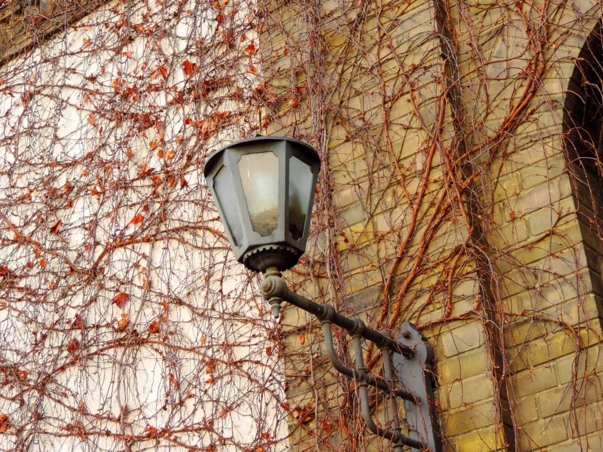 syyskaudella, Valurauta, julkisivu, lyhty, puu, vanha, valo, seinä