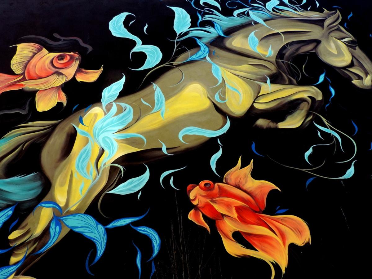 fantasy, fishes, horse, mural, design, art, pattern, wallpaper
