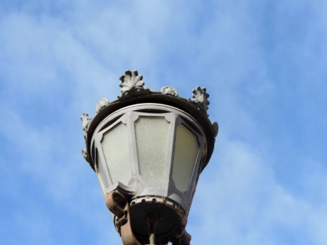 baroque, blue sky, cast iron, lamp, architecture, atmosphere, outdoors, old