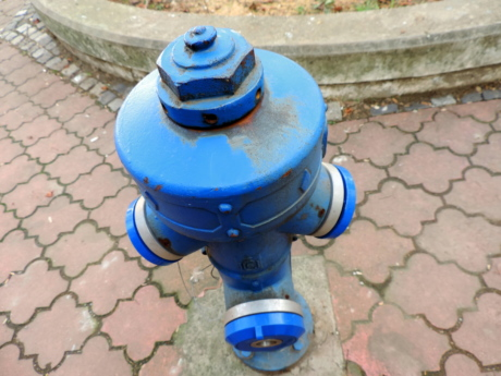 blue, cast iron, hydrant, pipe, street, equipment, outdoors, color