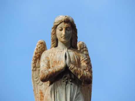 angel, baroque, blue sky, heritage, innocence, prayer, sculpture, woman