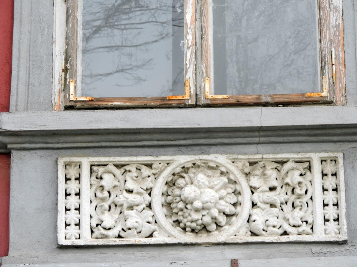 rez, staré, okno, dřevěný, architektura, dřevo, dům, zeď