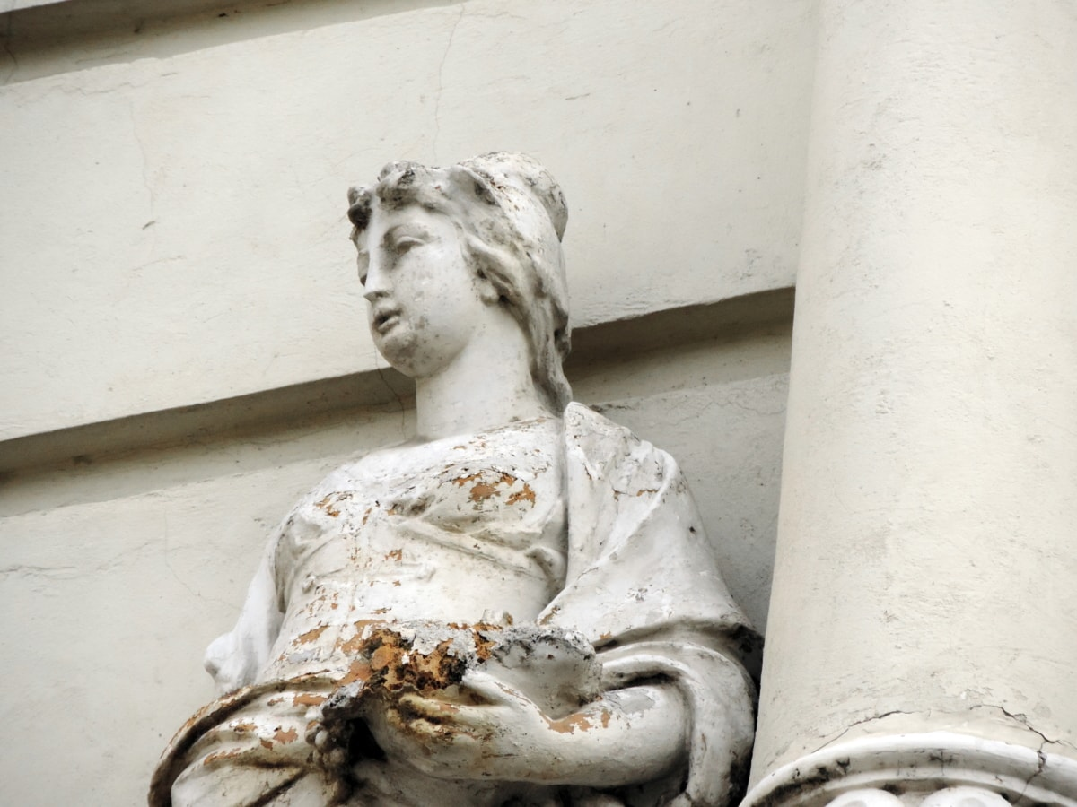 velho, ruína, estátua, escultura, pessoas, arte, retrato, mulher