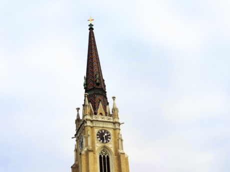 catholic, Serbia, building, tower, architecture, landmark, clock, shelter