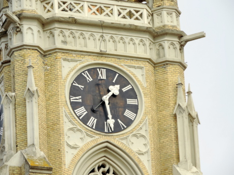 cathedral, catholic, church tower, landmark, pointer, clock, timepiece, architecture