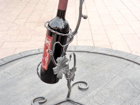 art, bottle, cast iron, wine, winery, wheel, street, pavement