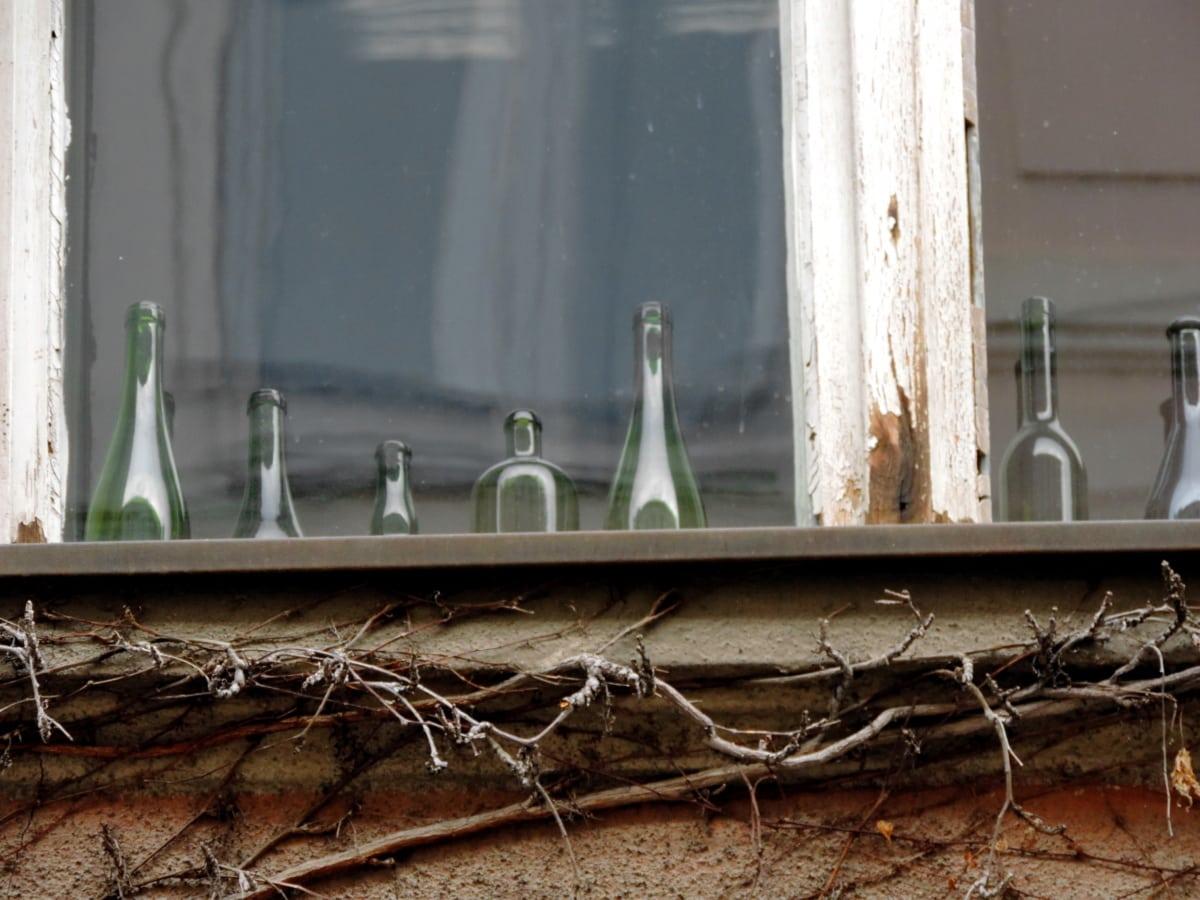 pullo, yksityiskohta, talo, vanha, ikkuna, seinä, hylätty, puu