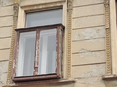 antique, retro, window, upright, architecture, building, sill, wood