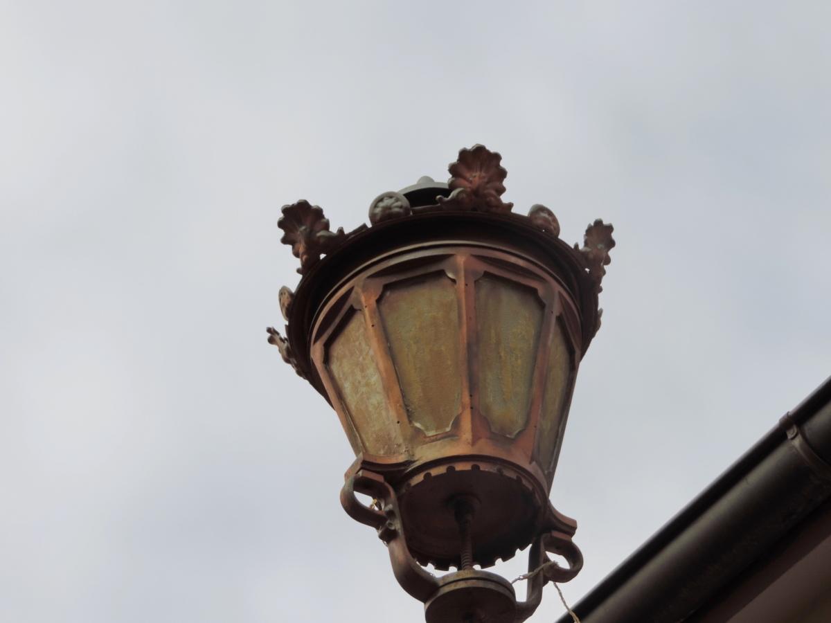Valurauta, lyhty, lamppu, arkkitehtuuri, vanha, kaupunki, ulkona, antiikki