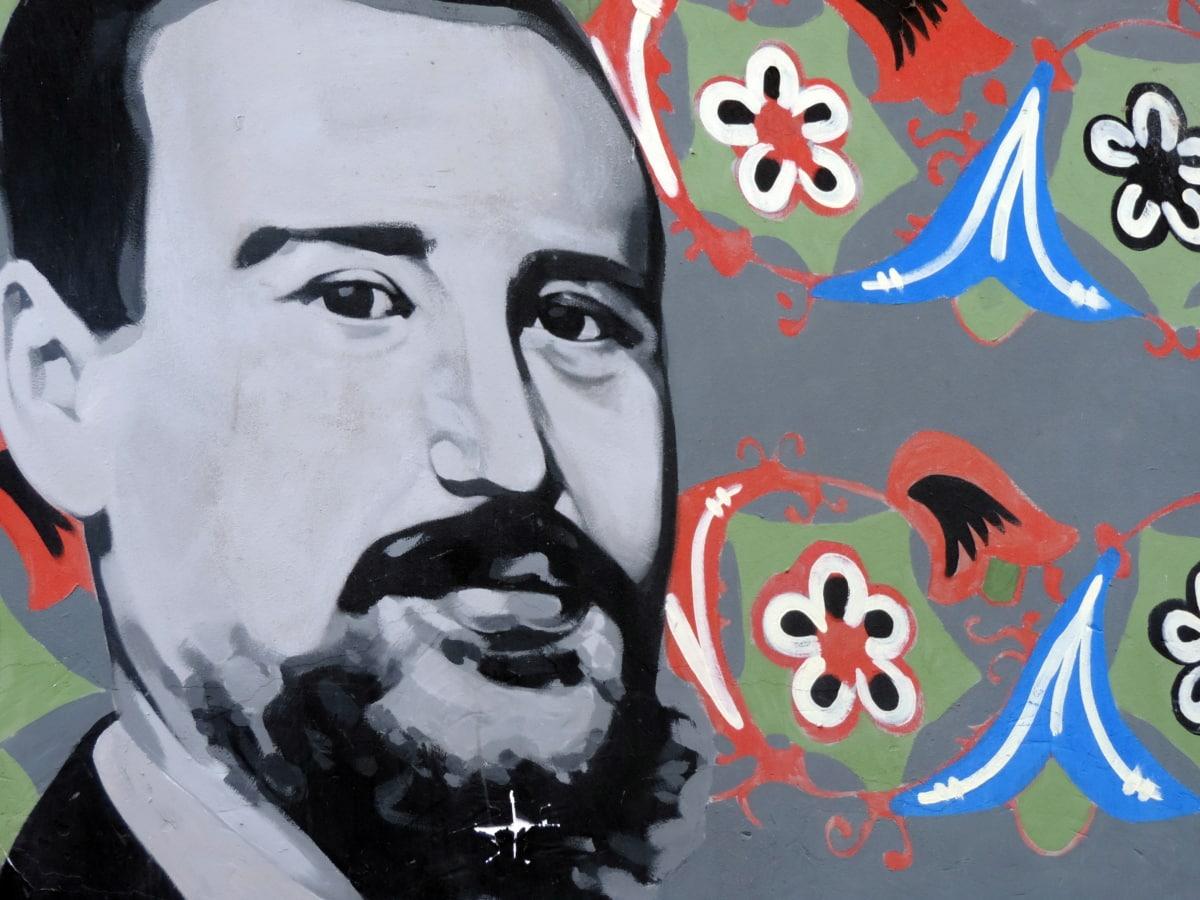 graffiti, lidé, ilustrace, umění, muž, malba, opotřebení, portrét