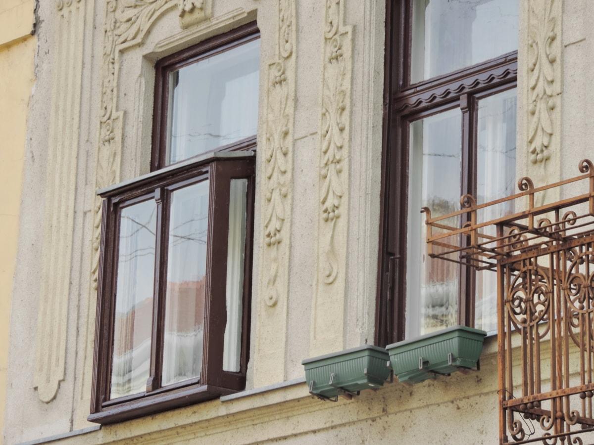 barokní, heraldika, bydliště, okno, dům, budova, architektura, fasáda