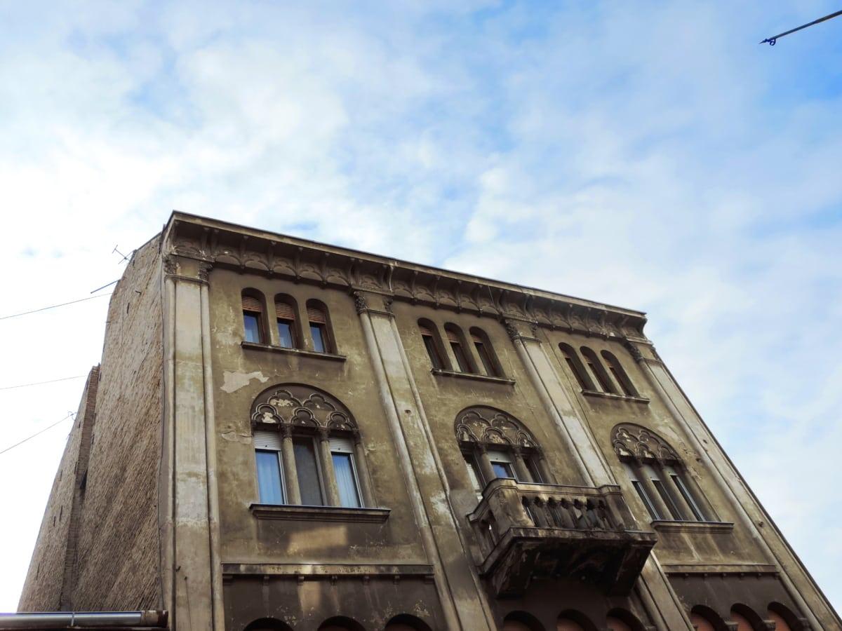 балкон, Барок, синьо небе, сграда, наследство, стар, перспектива, архитектура