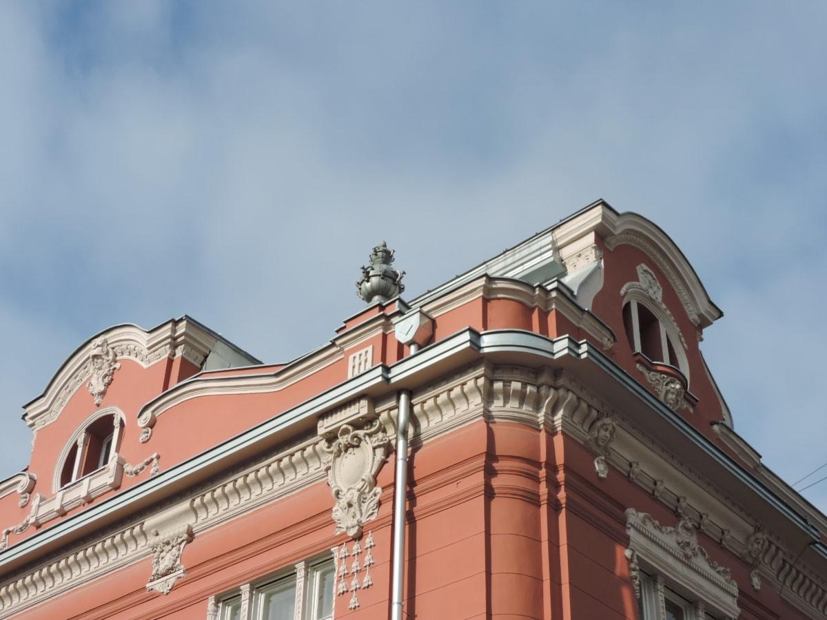 фасада, хералдика, наследство, покрив, сграда, архитектура, на открито, стар