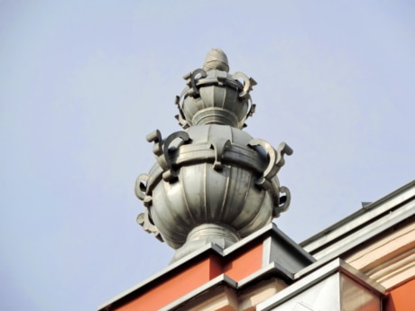 baroque, brass, cast iron, decoration, heritage, roof, architecture, statue