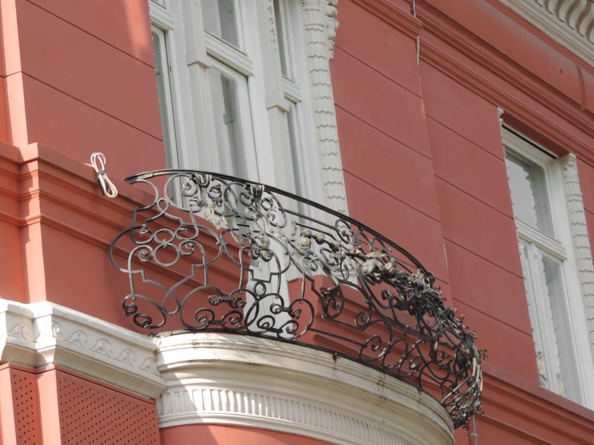 Barock, aus Gusseisen, Erbe, Balkon, Struktur, Erstellen von, Architektur, Haus