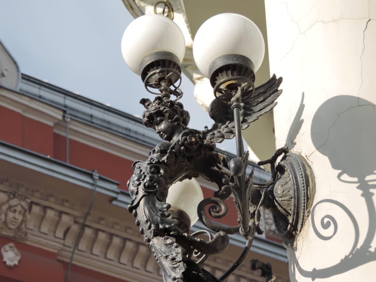kattokruunu, lamppu, vanha, kaupunki, suunnittelu, taide, vuosikerta, kaupunkien