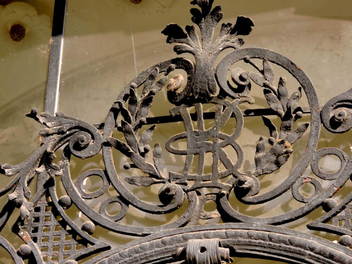 barokk, støpejern, detaljer, håndlaget, symbolet, gamle, stål, jern
