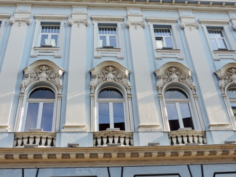 art, baroque, blue, detail, historic, windows, facade, architecture