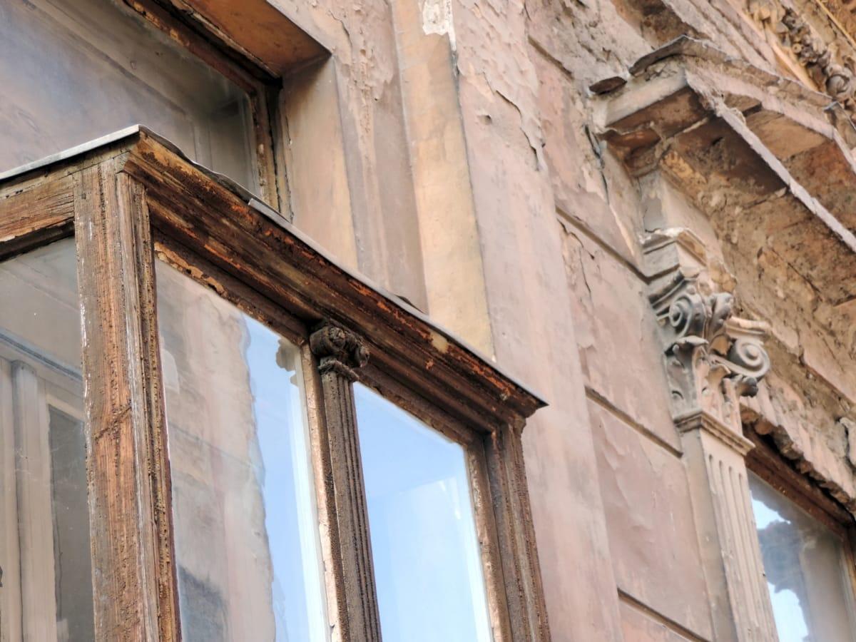 εγκαταλειφθεί, μπαρόκ, πρόσοψη, Χειροποίητο, παλιά, καταστροφή, παράθυρο, αρχιτεκτονική