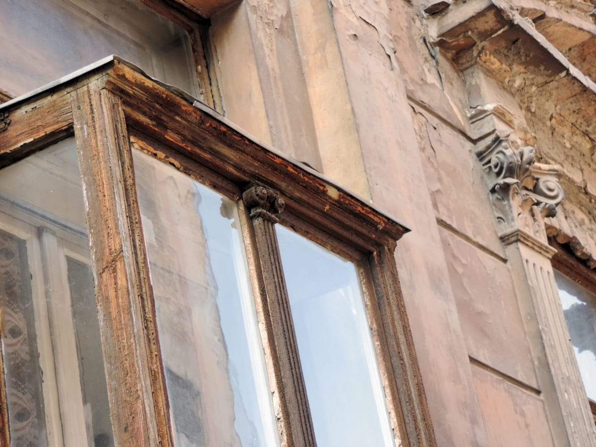 baroque, detail, old, ruin, window, column, building, architecture