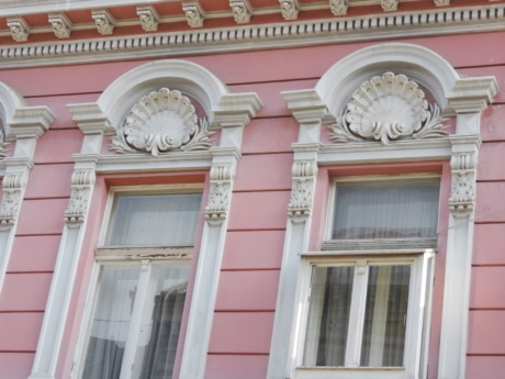 baroque, decoration, pink, window, facade, architecture, building, house