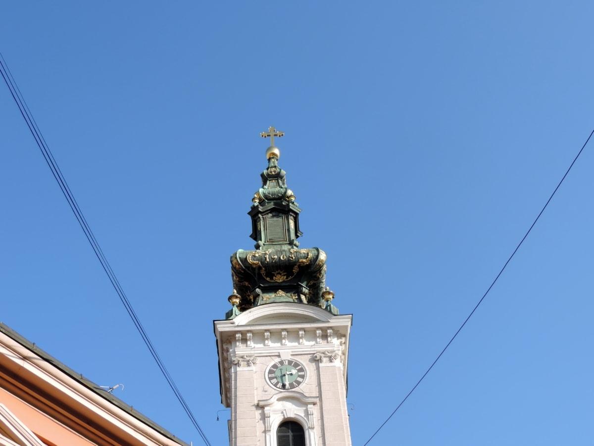 християнството, Църквата кула, кръст, Злато, православна, Сърбия, църква, архитектура