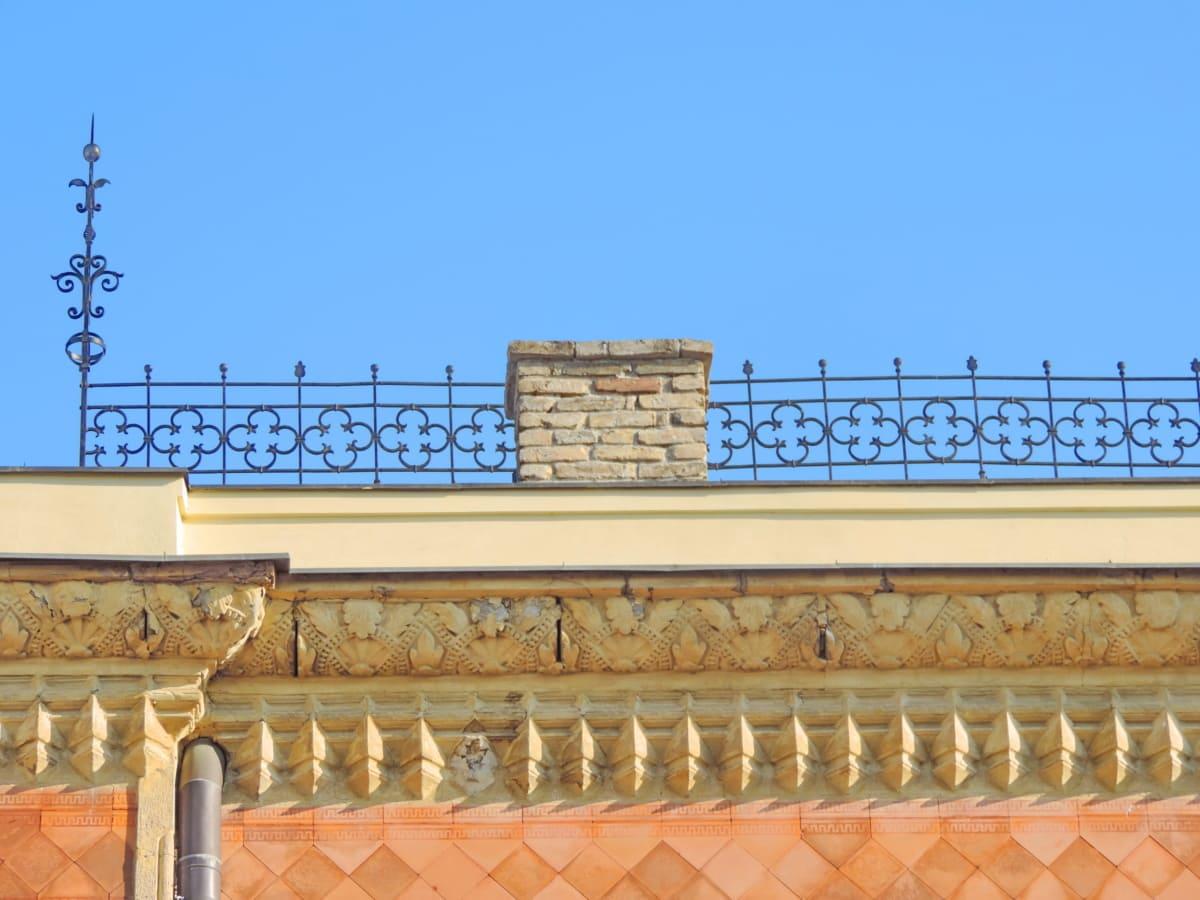 τούβλο, Χυτοσίδηρος, καμινάδα, αστική περιοχή, αρχιτεκτονική, δομή, κτίριο, στέγη