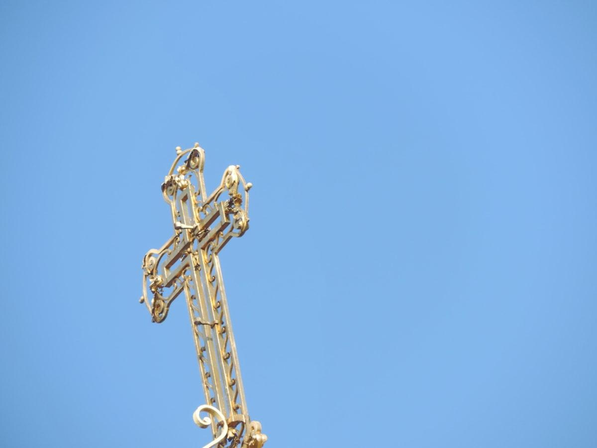 Byzantinische, Kreuz, Gold, Himmel, Metall, orthodoxe, blauer Himmel, im freien