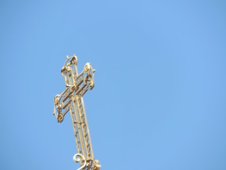 Byzantine, cross, gold, Heaven, metal, orthodox, blue sky, outdoors